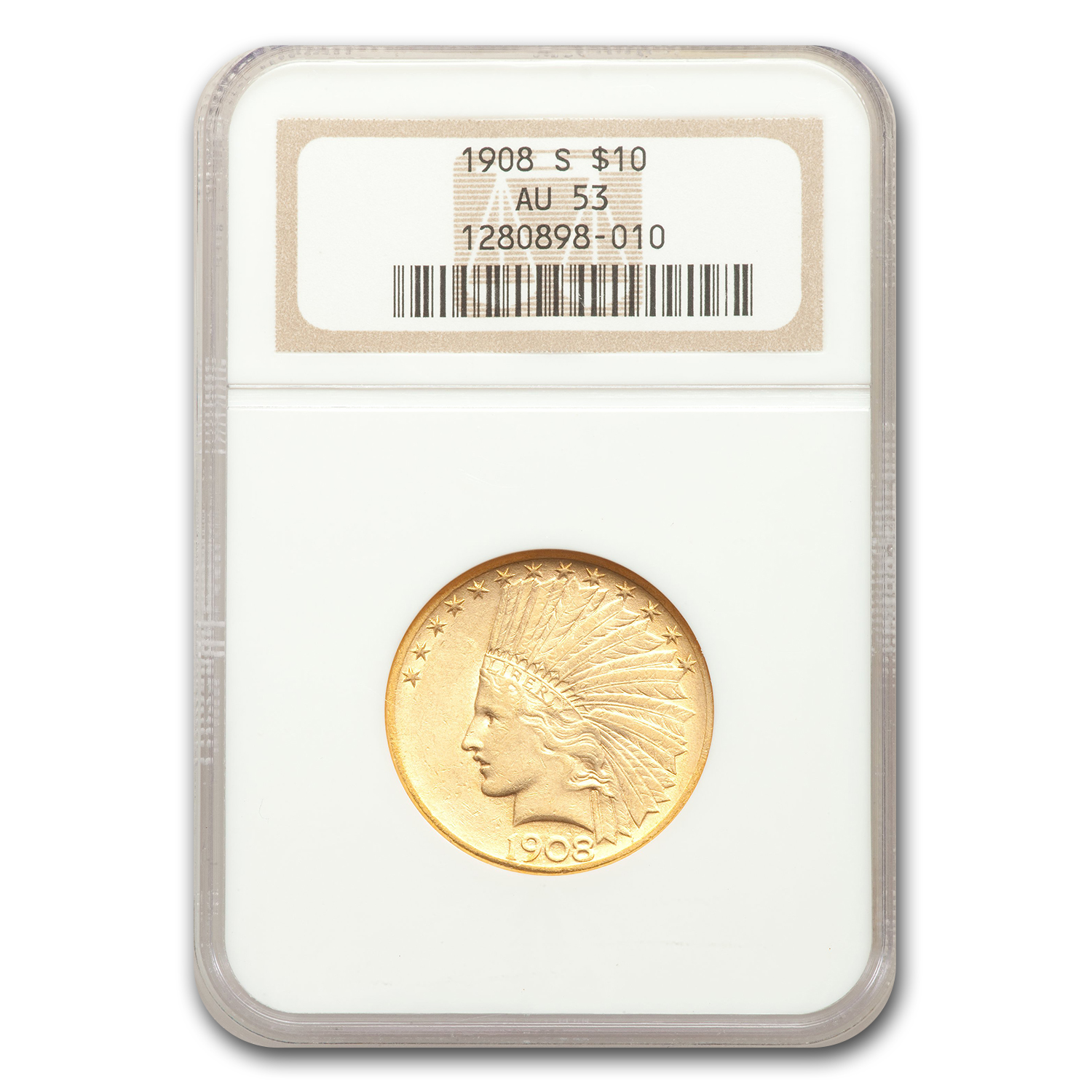 1908-S $10 Indian Gold Eagle AU-53 NGC